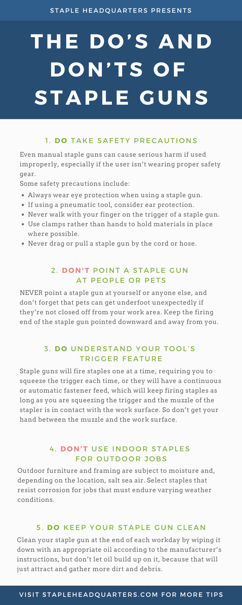 Staple Guns Do's and Don'ts